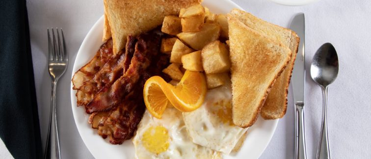 Great Food - Your Table is Here - Deer Lake Motel - Bacon and Eggs
